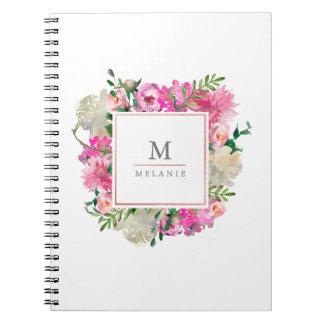 Trendy Bohemian Floral Monogram Notebook