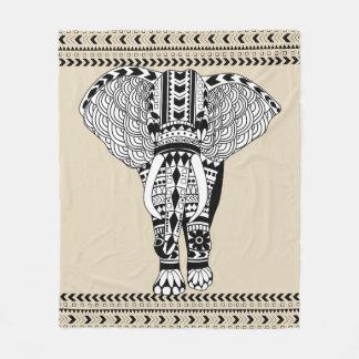Trendy Bohemian Tribal Patterned Elephant Fleece Blanket