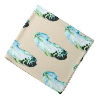 Trendy Bohemian Watercolor Blue Teal Feathers Kerchief