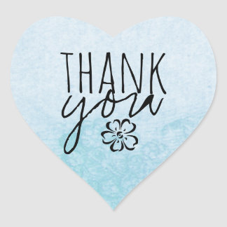 Trendy Boho Chic Floral Blue Heart Thank You Heart Sticker