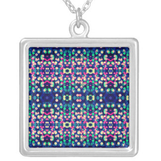 Trendy Bokeh Christmas Lights Funk Hipster Pattern Personalized Necklace