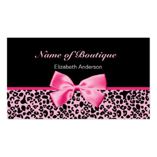 Trendy Boutique Pink And Black Leopard Pink Ribbon Pack Of Standard Business Cards
