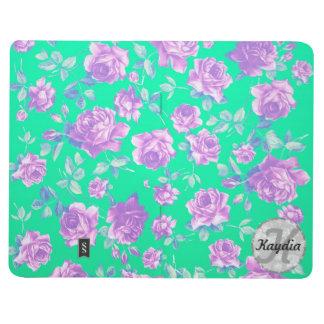 Trendy Bright Blue Teal & Purple  Floral Monogram Journals