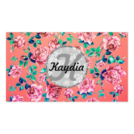 Trendy Bright Girly Pink Vintage Floral Monogram Business Card Template