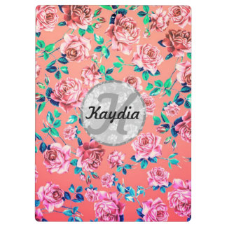 Trendy Bright Girly Pink Vintage Floral Monogram Clipboard