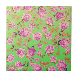 Trendy Bright Lime Green Vintage Elegant Floral Tile