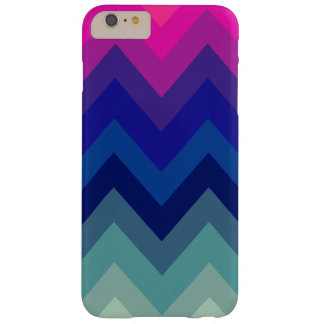 Trendy Bright Pink Teal Ombre Chevron Pattern Barely There iPhone 6 Plus Case