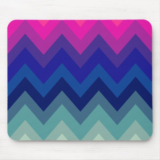 Trendy Bright Pink Teal Ombre Chevron Pattern Mouse Mat