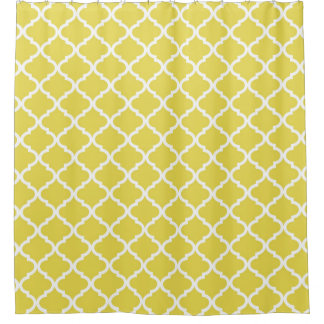 Trendy Bright Yellow Moraccan Quatrefoil Pattern Shower Curtain