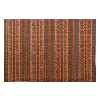 Trendy Brown and Orange Chevron Aztec Placemat