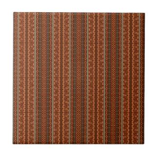 Trendy Brown and Orange Chevron Aztec Tile