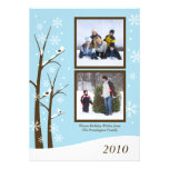 Trendy brown blue snowflakes holiday photo card personalized invitations