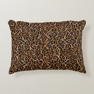 Trendy Brown Exotic Fur Pattern Leopard Print Accent Pillow