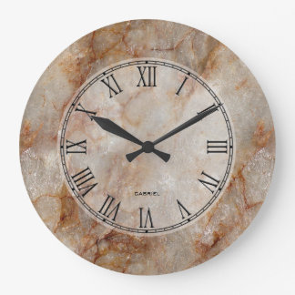 Trendy Brown Faux Marble Stone Pattern Large Clock