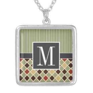 Trendy Brown & Green Diamonds Square Pendant Necklace