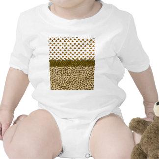 Trendy Brown Yellow Animal Print Hearts Glitter Ph Baby Bodysuit