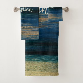 Trendy brush strokes in green, blue and gold bath towel set
