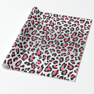 trendy bubble gum pink leopard animal print wrapping paper