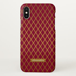 Trendy Burgundy Gold Diamonds Pattern iPhone X Case