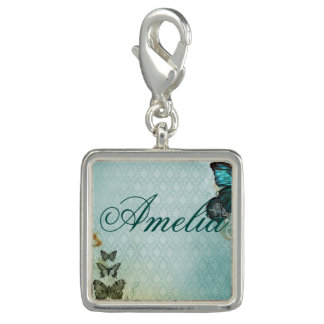 trendy butterfly chic elegant damask silver blue