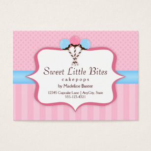 Blue cake business cards business card printing zazzle uk trendy cake pop bakery business cards reheart Images