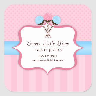Trendy Cake Pop Bakery Labels Square Stickers