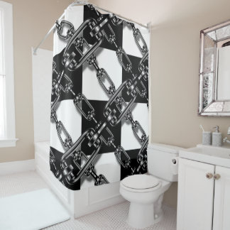 Trendy Chain link black white check Shower curtain