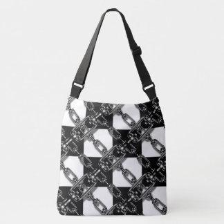 Trendy Chains black white check cross body bag Tote Bag