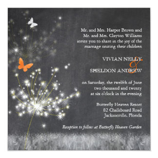 Trendy Chalkboard + Dandelion Wedding 13 Cm X 13 Cm Square Invitation Card