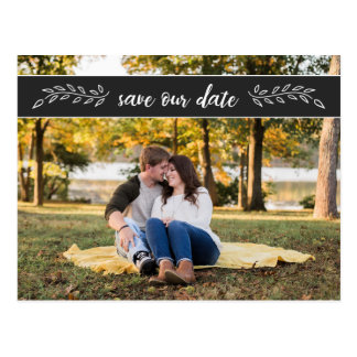 Trendy Chalkboard photo save our date typography Postcard
