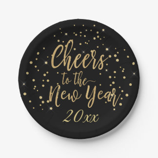 Trendy Cheers to the New Year Paper Plate