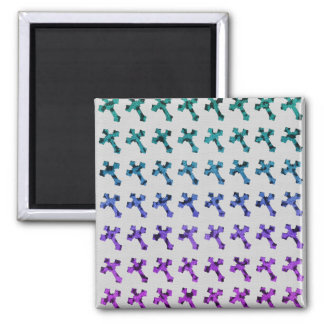 Trendy Cheetah Faded Glitter Cross Printed Image Refrigerator Magnets