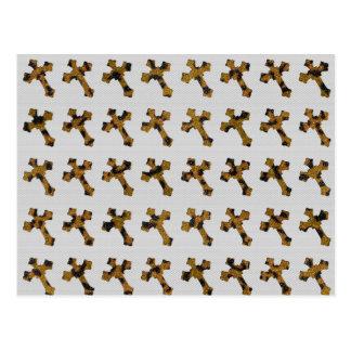 Trendy Cheetah Glitter Crosses Printed Image Post Cards