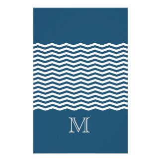 Trendy chevron blue monogram stationery