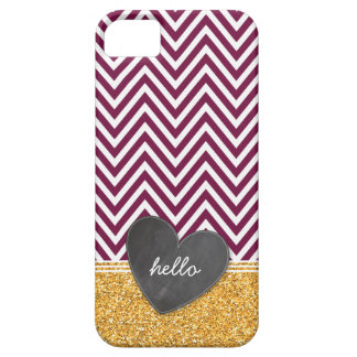 TRENDY chevron chalkboard heart glitter maroon Barely There iPhone 5 Case
