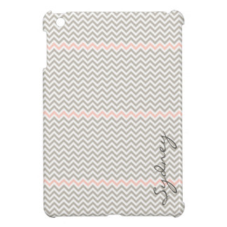 Trendy Chevron in Light Pink and Grey Customizable iPad Mini Covers