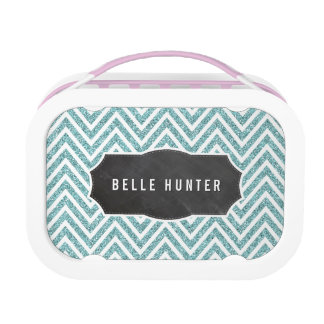 TRENDY chevron pattern blue glitter chalkboard Lunchboxes