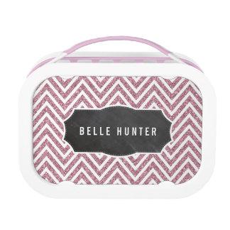 TRENDY chevron pattern pink glitter chalkboard Lunch Box