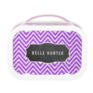 TRENDY chevron pattern purple glitter chalkboard Lunch Box