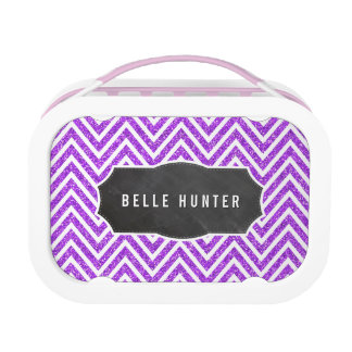 TRENDY chevron pattern purple glitter chalkboard Lunchboxes