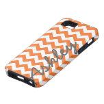 Trendy Chevron Pattern with name - orange grey iPhone 5 Cases