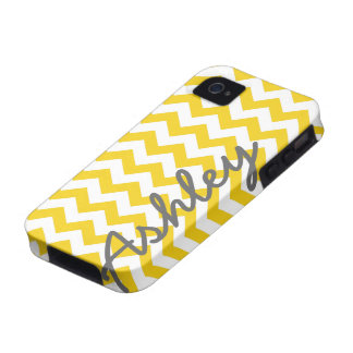 Trendy Chevron Pattern with name - yellow gray iPhone 4/4S Covers