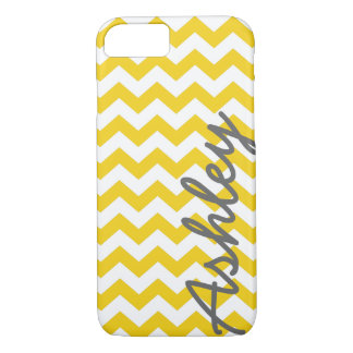Trendy Chevron Pattern with name - yellow gray iPhone 8/7 Case