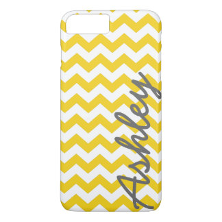 Trendy Chevron Pattern with name - yellow gray iPhone 8 Plus/7 Plus Case