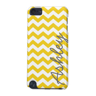 Trendy Chevron Pattern with name - yellow gray iPod Touch 5G Cover