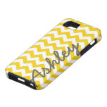 Trendy Chevron Pattern with name - yellow grey iPhone 5 Covers