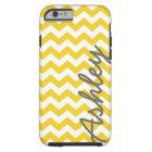 Trendy Chevron Pattern with name - yellow grey Tough iPhone 6 Case