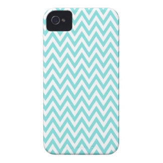 Trendy chic aqua blue chevron zigzag pattern iPhone 4 covers