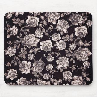 Trendy Chic Black & White Vintage Elegant Floral Mouse Mat