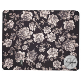 Trendy Chic Black & White Vintage Floral Monogram Journals